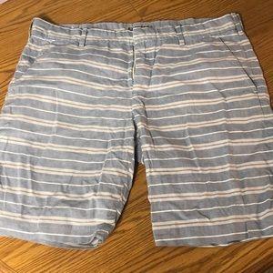 Light Blue Striped Bermuda Shorts